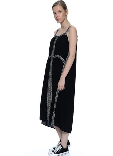 FREEMINDS Askılı Uzun Salaş Elbise Siyah